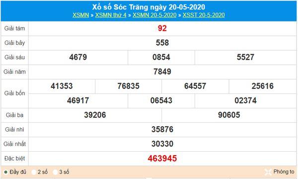 Dự đoán XSST 27/5/2020 - KQXS Sóc Trăng thứ 4 hôm nay