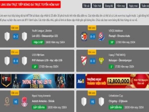 Trực tiếp bóng đá trực tuyến trên Mitomtv