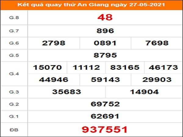 Quay thử kết quả xổ số tỉnh An Giang 27/5/2021